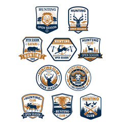 hunting sport club and african safari badge set vector image