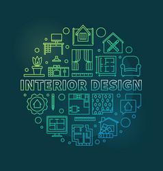 Interior design round colored outline vector