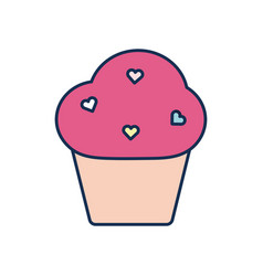 Isolated cupcake dessert line fill style icon vector