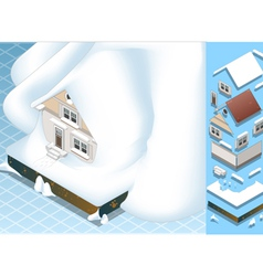Isometric House Hit by Landslide of Snow vector