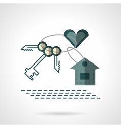 Key chain heart and house flat icon vector