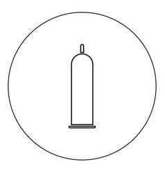 Latex condom icon black color in circle vector