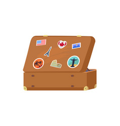 leather vintage suitcase with decorative memories vector image