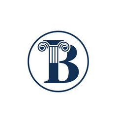 Letter b and law pillar logo design vector