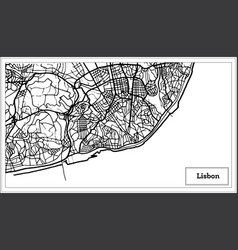 Lisbon portugal map in black and white color vector
