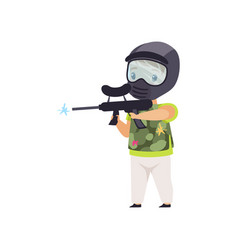 Little boy wearing mask and vest playing paintball vector