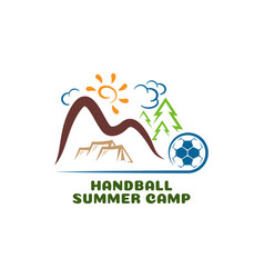 logo handball summar camp fun cartoon logo vector image