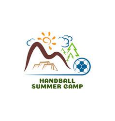 Logo handball summar camp fun cartoon vector