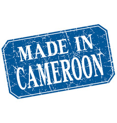 Made in cameroon blue square grunge stamp vector
