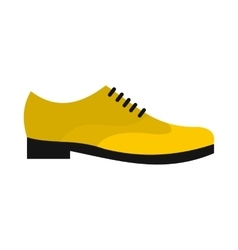 Male yellow shoe icon flat style vector image