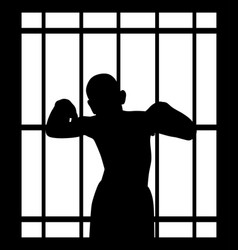Man in jail behind bars vector
