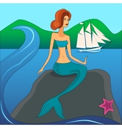 mermaid on the stone vector image