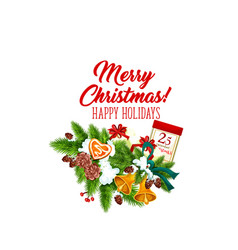 merry christmas wreath decoration icon vector image
