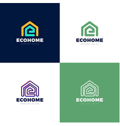 minimalist logo house and letter e eco house vector image
