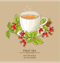 Mug of rose hips tea vector