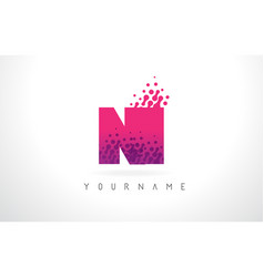 ni n i letter logo with pink purple color and vector image
