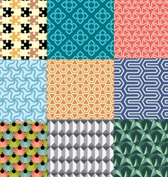 Nine geometric patterns and seamless 3D design vector
