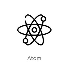 Outline atom icon isolated black simple line vector