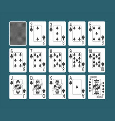 Playing cards clubs set vector