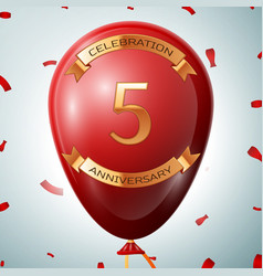Red balloon with golden inscription five years vector