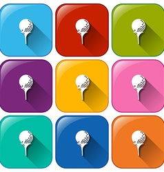 Rounded icons with golf balls vector