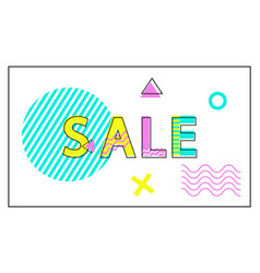 sale poster geometric figures in linear style vector image