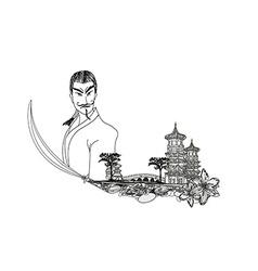Samurai in Asian Landscape - doodle vector image