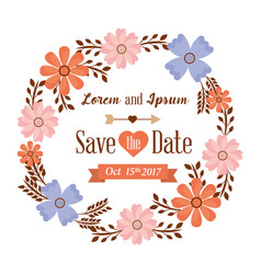 save the date card flowers frame decoration vector image