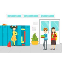 School students standing at lockers in school vector