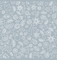 seamless doodle love gray pattern vector image