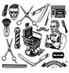 set vintage barbershop emblems labels and vector image