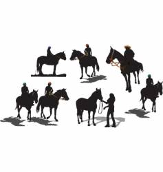 seven horse silhouettes vector image