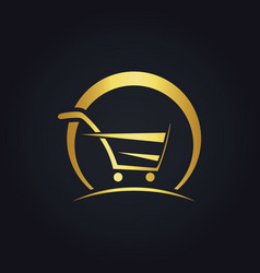 Shopping cart abstract buy speed gold logo vector
