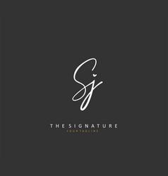 Sj initial letter handwriting and signature logo vector