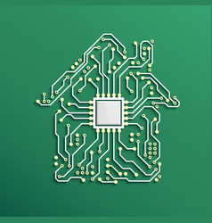 smart home concept circuit house with cpu inside vector image
