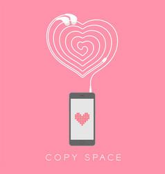 smartphone black color flat design heart icon vector image