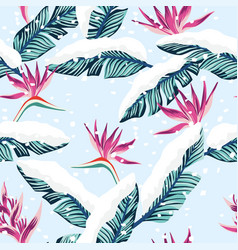 Snowy composition from blue tropical banana leaves vector