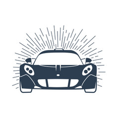 Sports cars silhouette with rays vector