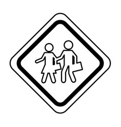 Students on the road traffic signal icon vector