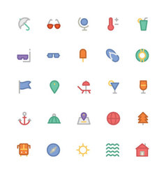 Summer colored icons 1 vector