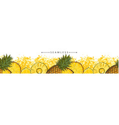 summer pineapple or ananas seamless pattern sketch vector image
