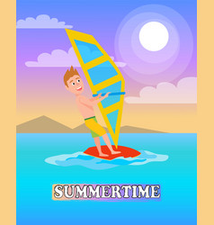 Summertime poster windsurf boy windsurfing sport vector