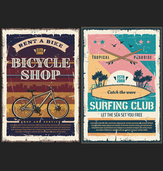 surfboard surfing board beach wave bicycle vector image