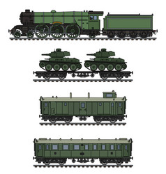 The vintage khaki military steam train vector