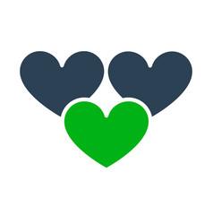 three hearts like colored icon love feedback vector image