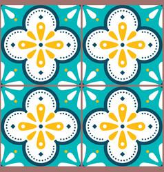 tiles pattern - azulejo lisbon retro tile vector image