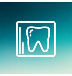 Tooth protected by a glass thin line icon vector image
