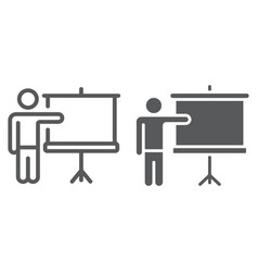 Training line and glyph icon e learning vector