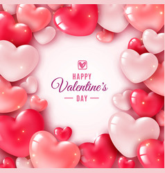 Valentines day 3d hearts romantic greeting card vector