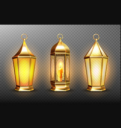 Vintage gold arabic lanterns with glowing candles vector